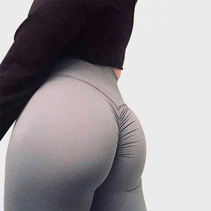 Salspor padrão sólido Fold Yoga Calças de cintura alta Push Up apertado Academia Gym Mulheres Correndo Workout Esporte Leggings