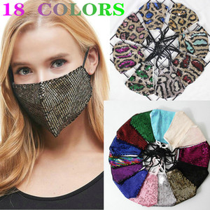 Salon imprimé léopard masque facial Fashion Lady BlingBling Sequin Paillette Designer de luxe lavable réutilisable seule femme de protection réglable