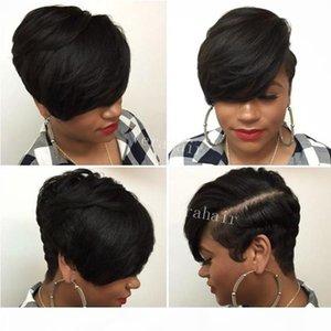 아프리카 계 미국인 여성을위한 짧은 가발 Rihanna 짧은 Pixie 인간의 머리 가발 자연 브라질 짧은 레이스 프론트 인간의 머리 가발 흑인 여성