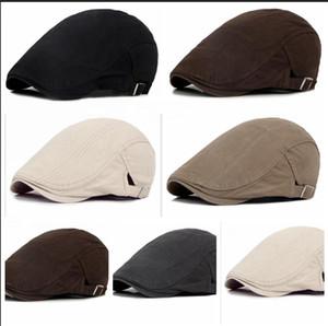 Sıcak Erkekler Newsboy Moda% 100 Pamuk Düz Şapkalar Kadın Unisex Ayarlanabilir Sonbahar Kış Bereliler Sürüş Hat Caps