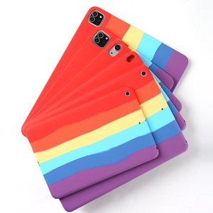 Ins Rainbow Colorful Cover Soft TPU Silica Gel Protective Back Case For iPad 2 3 4 5 6 7 8 10.2 Air 10.9 Air2 Pro 10.5 9.7 2017 2018 Mini