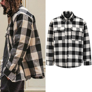 Schwarzweiss-Plaid Padded Jacket Male High Street Aufmaß Revers dicken Winterbaumwollmantel Windjacke Lässige Bomberjacken