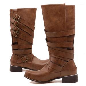 الخريف الشتاء 2020 امرأة الأحذية النساء الشتاء الدافئة فاسق محايد ميد الكعوب الأحذية بارد الرجعية حزام أبازيم الأحذية # 9071