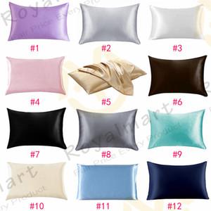 20 * 26 pulgadas de seda de seda fundas de almohada de seda 12 colores Seda de hielo Piel de la piel con cremallera con cremallera cubierta de almohada de cara doble cara de almohada