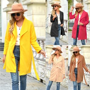 Color Casual Fashion High Street Women Outerwear Clothing Autumn Winter Wool Blends Womens Designer Lapel Neck Coats With Sash Solid