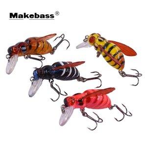 Makebass Carnada Yapay Arı Şeklinde Balıkçılık Bait Böcek Bumblebee Balıkçılık Lures Topwater Crankbait Bas Olta Takımı Q0104
