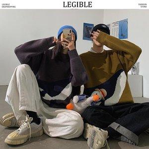 Leguers Legible Sleeers homens 2020 Outono Inverno Pullovers Camisola Masculino Moda Coreana Solta Camisola Mens Roupa