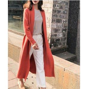 Rebicoo estilo coreano mujeres largo cardigan otoño invierno punto casual damas de manga larga suéter cardigan feminino
