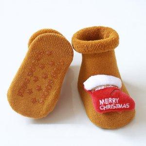 Navidad del bebé antideslizante piso del calcetín infantil 0-3 años de algodón de Santa piso calcetines de silicona antideslizante del niño del calcetín DHC1876