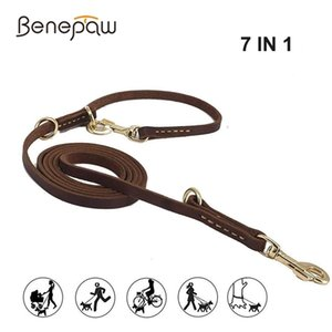 Benepaw Multifunctional Genuine Leather Dog Leash Hands Free Short Medium Long Training Pet Leash For Small Medium Large Dogs 1020