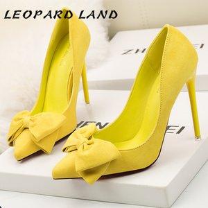 Sapatos de LEOPARD Sweet Land Stiletto Mulheres Super High Heel rasas Boca único sapatos sapatos bicudos de Sexy Suede Bow Mulheres ZWM 0928