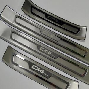 Car Styling Acessórios Para Mazda Cx -5 placas Cx 5 CX5 peitoril da porta guarnição da tampa raspar Guard Protector de Proteção etiqueta 2017 2018