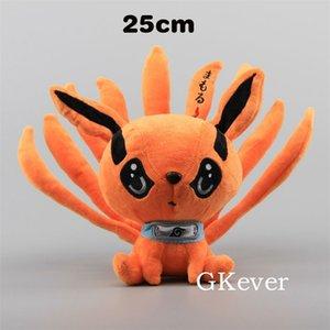 25 cm Anime Naruto Shippuden Fox Demon Peluche Toys Muñeca Linda Uzumaki Kyuubi Kurama Nine-Tales Fox Relleno Toys Regalo para Niñas Niños LJ201126
