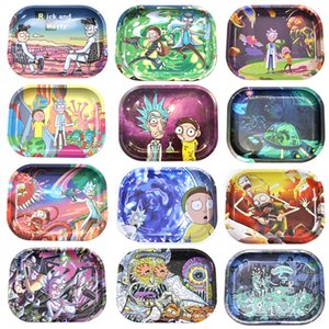 Newest Cartoon Tobacco Rolling Tray Metal Hand Roller Tobacco Grinder Smoking Accessories E Cigarettes Tool Random pattern
