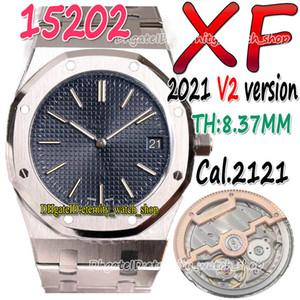 Eternidad XFF 2021 V2 39mm Ultra-Thin THK-8.37mm 15202 15400 Azul Dial Cal.2121 SA2121 Reloj automático para hombre 904L Caja de acero Relojes de pulsera