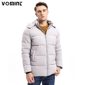 Vomint 2020 Winter Men Hoodie Coats Mid-weight 80% Down Warm Long Jackets Hat Detachable Solid Color Basic Style U6vi9357