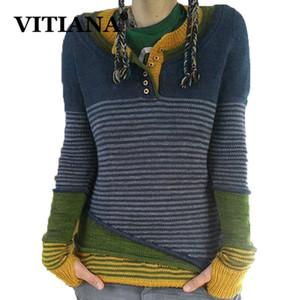 VITIANA Повседневный вязать свитер Женщины осень падать Buttons зима Женщины с длинным рукавом пуловер Pactchwork Трикотажные топы Свитера Y200930