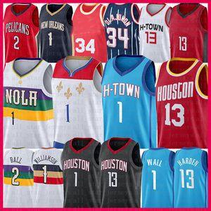 13 John Zion 1 muro harden williamson basket jersey lonzo 2 palla Hakeem 34 Olajuwon 2021 New Jerseys Mens maglia rosso blu