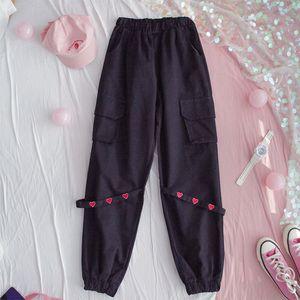 HWLZLTZHT Plus Size Womens Casual Pants High Waist Sweatpants For Women Loose Japanese Harajuku Pants Kawaii Femme Fall Trousers 201022