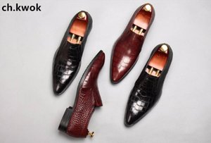 CH.KWOK Lazy Person Slip On Leather Oxfords Shoes Black Burgundy Genuine Leather Wedding Business Party Formal Shoes Oxfords
