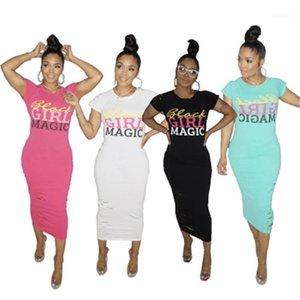 Moda Bronzlaştırıcı Boncuk Delik Uzun Elbise Tasarımcı Yeni Kadın İnce Casual Kısa Kollu Yuvarlak Yaka Elbise Kadınlar Harf Desenli Elbise