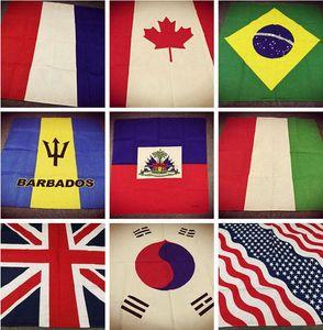 Cotton Flag Series USA UK France South Korea Brazil Germany Canada Mexico Punk Hip-hop Headwear Hair Neckerchief Scarf Bandanas