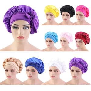Women Satin Hair Bonnet Silk Nigh Sleep Cap Hair Care Shower Hat Long Tail Head Wrap Scarf Turban Hair Loss Bonnet Cover Warp