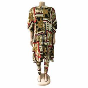 Tilapia Vintage Loose 2in1 Big Stretch Femmes Ensemble Casual Ankara Dashiki Style Tenue Q0114