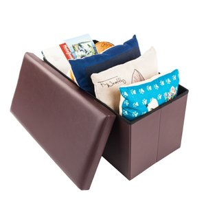 Hot sale Waterproof Brown high quality durable and safe footstool rectangle Shape Practical PVC leather classic footstool
