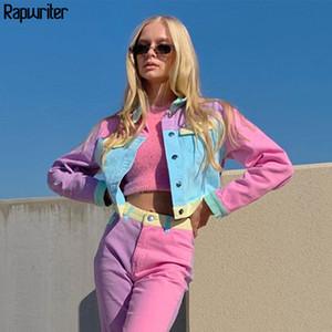 Moda Patchwork Pembe Kırpılmış Bombacı Kısa Ceket Kadınlar Sonbahar Harajuku Y2K Uzun Kollu Düğme Ceket Streetwear Rapwriter 201026
