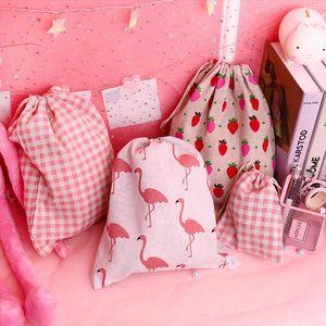 Women Travel Cartoon Flamingo Animal Cosmetic Bag Drawstring Make Up Case Makeup Toiletry Organizer Storage Beauty Wash Pouch