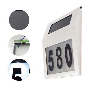 Solar Powered LED Light Sign House Hotel Door Address Plaque Doorplate Number Light Outdoor Wall Plaque Lamp