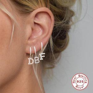 Luxury Designer Jewelry S925 Sterling Silver Single 26 English Alphabet Hoop Earrings Fashion Women Letter Earring with Diamond