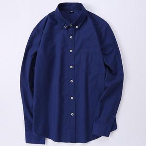 GREVOL 2021 Nouveaux Hommes Solid Shirts Business Manchon à manches longues Collier 100% coton Chemises masculines Slim Fit Designs populaires