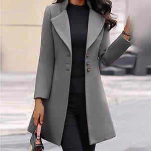 Femmes Mode manches longues à manches longues en laine Couleur solide Moioirue veste pour femme 2021 hiver long jaquette atmosphère
