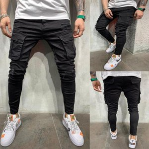 New Black Biker Cargo Jeans Men Multi-Pocket Slim Fit Joggers Trousers Mens Ripped Hole Motorcycle Streetwear Denim Pencil Pants