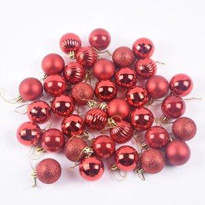 Nuevo árbol de Navidad Decoración de la decoración fiesta de Navidad colgante de la bola de la pelota decoraciones para el hogar Decoraciones de Navidad Regalo 36pcs 4cm Balls per DHD2597