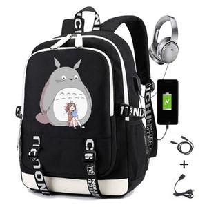 Meu vizinho Totoro Mochila Japão Anime Impressão Meninos Meninas Estudante Sacos de Escola Homens USB Carregando Laptop Casual Travel Backpack 201118