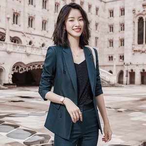 Женские двух частей брюки юбка набор деловых костюмов офис брюк для женщин с длинным рукавом брюки, негабаритные блейзерные чашки 2021