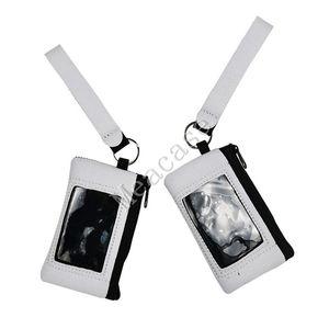 Sublimação em branco titular do cartão slot Carteiras térmica de calor Transferência de Impressão Neoprene Bolsa com cordão Wristlet Carteiras Bolsas F102306
