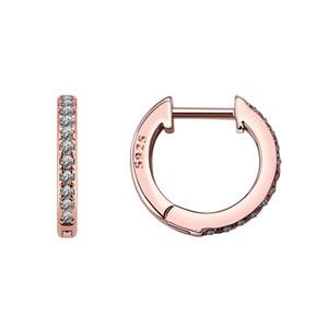 S925 argento zircone cerchio orecchino orecchino femminile full diamond gioielli di lusso microear penning chiusura semplicità geometria