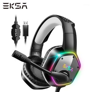 EKSA Casque de jeu câblé E1000 7.1 Surround Sound Headset Casque PC avec le bruit Casque de jeu Mic RGB Light Gaming For1
