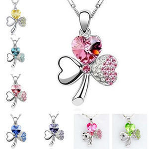 Popular Austrian Crystal Pendant Sweet Clover Necklace GSFN104 (with chain) mix order 20 pieces a lot