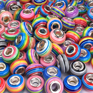 100Pcs Rainbow Murano Beads Plastic Colorful Beads for DIY Bracelets Necklaces for Women Jewelry