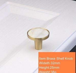 Nordic Brass Kitchen Drawer Cabinet Door Knobs Handles White Nature Shell Furniture Hardware Cupboard Wardrobe wmtAnZ dh_garden