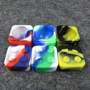 11ML Square shape silicone jars dab wax vaporizer oil rubber container food grade silicon dry herb dabber tool Box DHL Free