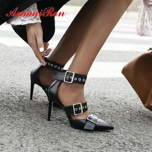 Anmairon 2020 cinturino in fibbia scarpe da sposa scarpe da sposa appuntamenti di punta con tacchi sottili Pompe da donna Sexy PU Donna High Heel1