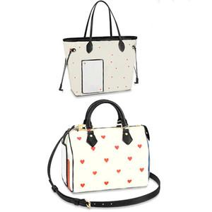 Moda Versátil Hearts Speedy 25 Bolso Bolso de hombro de cuero de alta calidad Crossbody Mujer Bolsa de asas portátil Ocio Bag Bag
