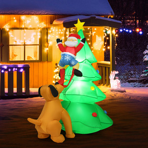 6.5FT Inflatable Christmas Tree Santa Decor w LED Lights Outdoor Yard Decoration