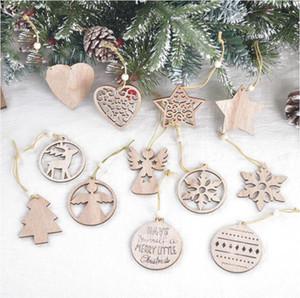 Arbre de Noël Ornement Pendentif flocon de neige de Noël en bois laser Sculpté en bois creux Petit pendentif exquis Décorations de Noël RRA3683